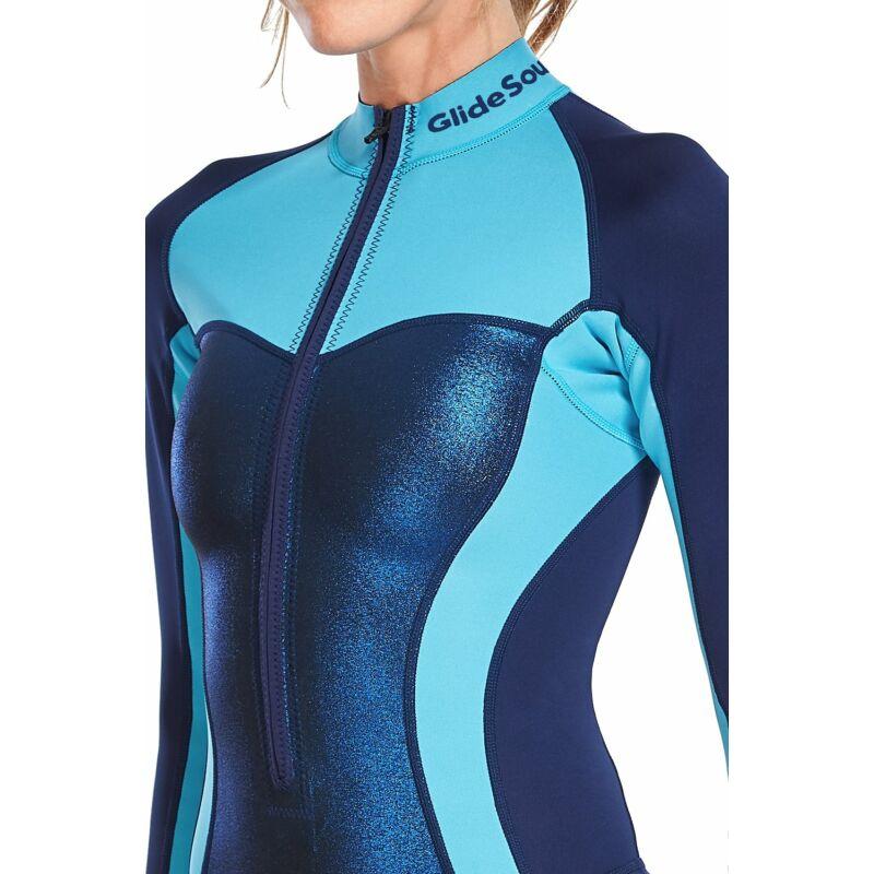 Glidesoul Blue/Bloom Csillámló kék hosszú ujjú szörfdressz